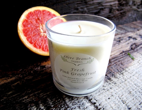 Organic Candle FRESH PINK GRAPEFRUIT Coconut Wax Candle Essential Oils All Natural Aromatherapy 10 oz.