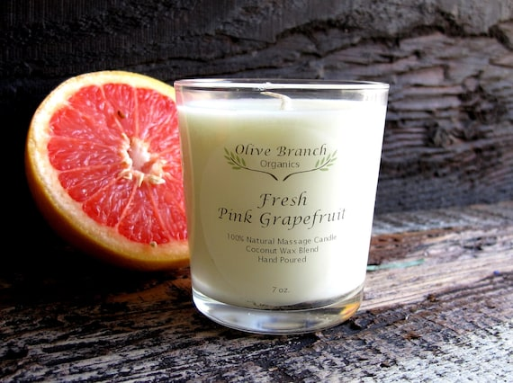Organic Candle FRESH PINK GRAPEFRUIT Vegan Coconut Wax Candle Essential Oils Eco-friendly All Natural 7 oz.