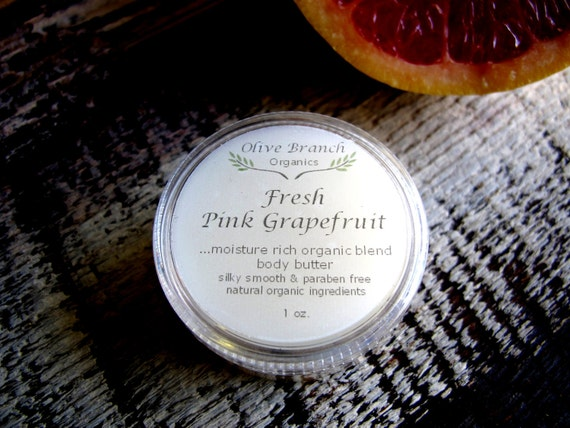Body Butter travel size FRESH PINK GRAPEFRUIT All Natural Vegan with Essential Oils 1 oz.