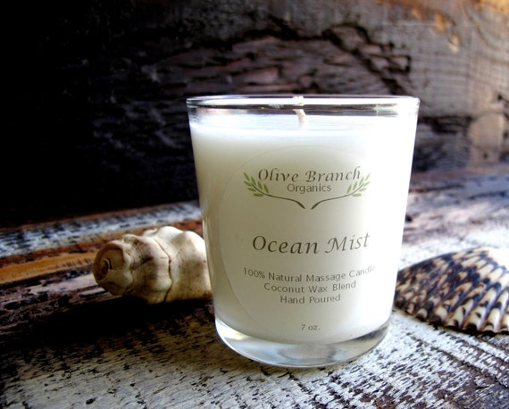 Organic Candle OCEAN MIST Coconut Wax Candle Essential Oils All Natural 7 oz.