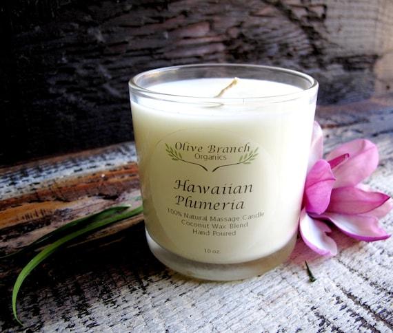 Organic/Natural  HAWAIIAN PLUMERIA  Coconut Wax Candle Essential Oils All Natural 10 oz.