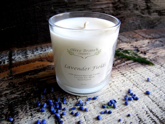 Organic Candle LAVENDER FIELDS Coconut Wax  Candle Essential Oils Natural 10 oz.