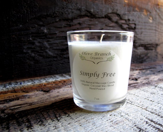Fragrance Free organic Candle SIMPLY FREE Unscented Coconut Wax  All Natural 7 oz.