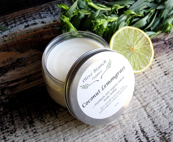 Organic Natural Body Butter skin care with Essential Oils in COCONUT LEMONGRASS