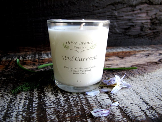 Organic Candle RED CURRANT Coconut Wax Essential Oils  Natural 7 oz.