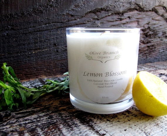 Coconut Wax LEMON BLOSSOM  massage candle Organic Essential Oils All Natural 10 oz.