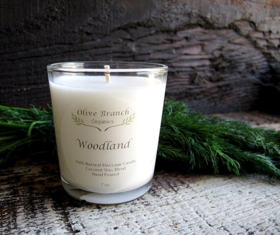 Organic Candle WOODLAND Coconut Wax Essential Oils All Natural skin care 7 oz