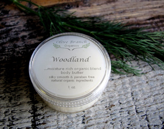 Body Butter travel size WOODLAND Organic All Natural skin care Essential Oils 1 oz.