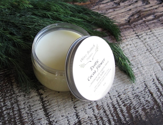Body Butter Organic All Natural with Essential Oils in EXOTIC COCOA FLOWER
