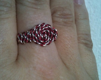 Twisted silver and magenta wrapped ring