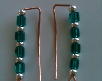 Green and silver ear sweep, ear pin, ear vine on copper wire