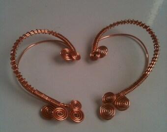 Simple copper swirls ear wrap