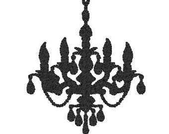 Instant Download - Hanging Chandelier Machine Embroidery Design - 3 Sizes