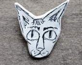 Sylvyn. Unique Clay Sphynx Cat Head Brooch Pin. Hand Illustrated.