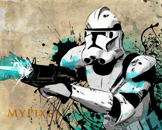 clone trooper star wars pop art illustration style fan art