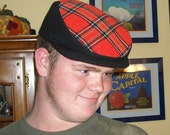 Black and Orange Plaid SPORTY Driving Cap of Recycled Wool  - Ready to Ship