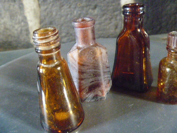 Found in France - Collection of 4 Vintage Brown Bottles - Featured In Two Treasuries