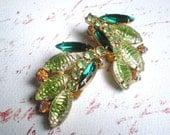 Vintage Rhinestone Earrings, Green, Aurora Borealis