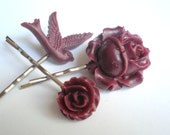 Maroon Flower Hair Pins, Resin, Bird