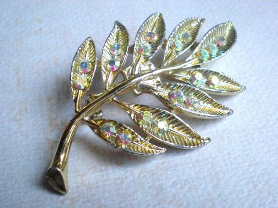 Vintage Aurora Borealis Rhinestone Brooch, Gold Leaf