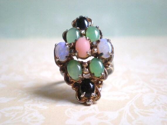 Vintage Cocktail Ring, Opal, Stones