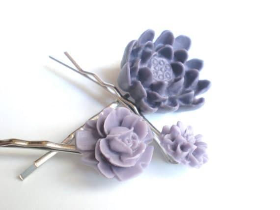 Purple Flower Hair Pins, Resin, Mix