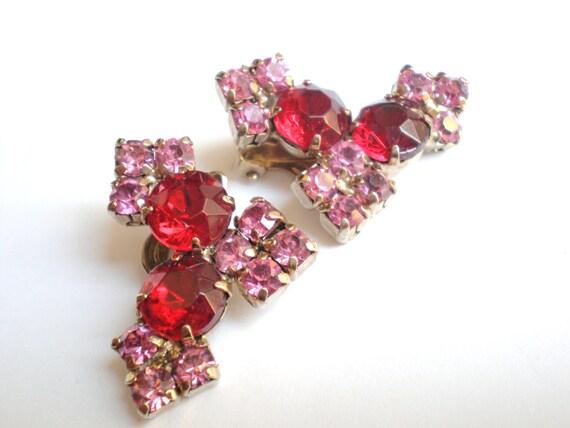 Rhinestone Earrings, Vintage, Red, Pink