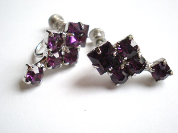 Vintage Rhinestone Earrings, Purple