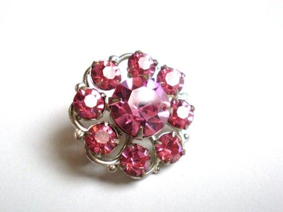 Vintage Rhinestone Brooch, Pink Flower, Small