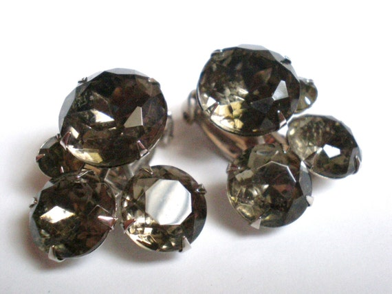 Rhinestone Earrings, Vintage, Gray