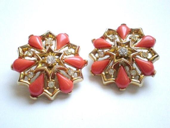 Vintage Rhinestone Earrings, Coral, Flower