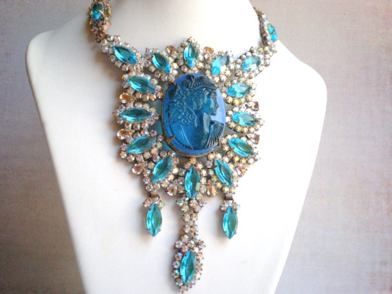 RESERVED, Vintage Rhinestone Necklace, Husar D, Blue, Cameo