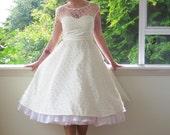 Reserve for Christine - 1950's White Wedding Dress, Polka Dot Overlay, Sweetheart Neckline, Tea Length Skirt and Petticoat