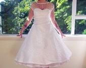 1950's 'Mary Jane' Style White Wedding Dress with Polka Dot Overlay, Sweetheart Neckline, Tea Length Skirt & Petticoat - Custom made to fit