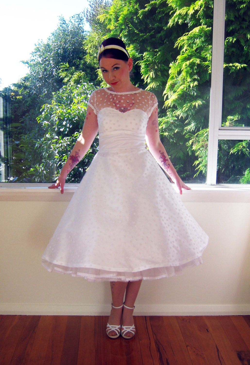 1950 39 s style white wedding dress with polka dot overlay for Wedding dresses 1950s style