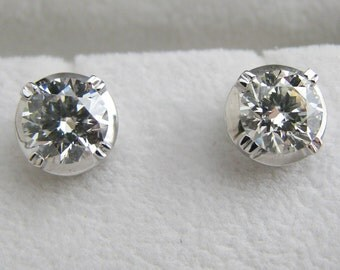 5mm White Sapphire Stud Earrings - White Gold Rhodium Plated over 925 Sterling Silver - Customized Options Available (D302W)