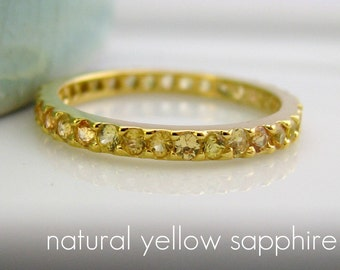 14K Solid Gold Eternity Yellow Sapphire Engagement Stack Ring -  Customized Options Available