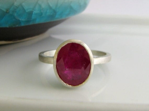 Berry blush ruby ring, ruby ring, gemstone ring, ruby rings for women, red ruby ring, July birthstone ring, natural ruby, sterling silver