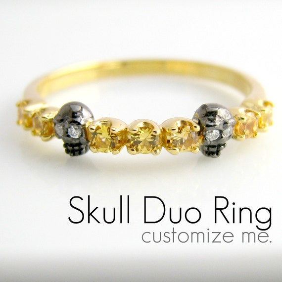 Custom Skull Ring - Half Eternity Skull Duo ALL Sapphire - Engagement Stack Ring - Alternative Wedding Ring - Tiny Skull - D315SK Custom