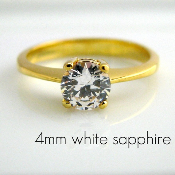 white sapphire solitaire engagement ring 24k by 360diamonds