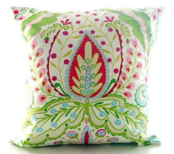 Kumari Garden, Throw Pillow Cover. Pink, Green And Aqua Blue Decorative Pillow.  16 inch