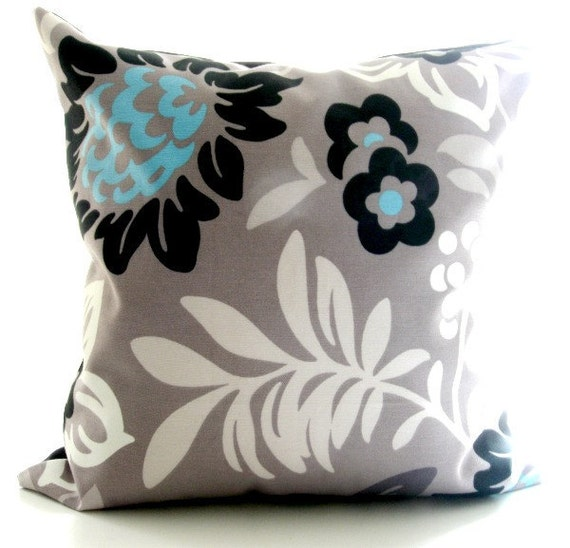 Grey And Aqua Blue Decorative Pillow Cover. Flowers And Foliage. Cotton