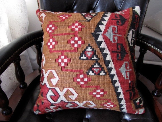 ON SALE Old Kilim pillowcover no.378-16x16 Inches Anatolian Concept