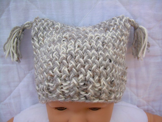 Knit Baby Hat - heather grey and off-white - 0 to 6 months