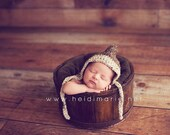 Brown & Cream Pixie Gnome hat with ties or chinstrap Newborn size available  Excellent photo prop