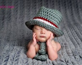 Fedora Hat Newborn thru 12 months available  Grey with Red & White band Perfect for Photo Props