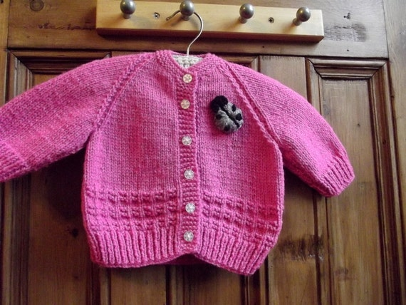 Baby clothing handmade knitted girl cardigan birth to 3 months