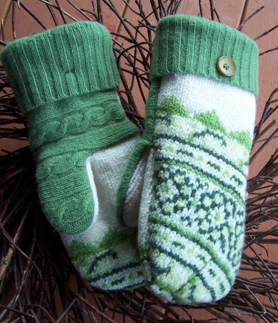 MADAWASKA MITTENS  Felted wool mittens.  Earth friendly, made from upcycled wool sweaters & lined with fleece.
