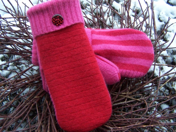MADAWASKA MITTENS  Felted wool mittens.  Earth friendly, made from upcycled wool sweaters, lined with fleece.