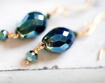 Dark Teal Earrings, Gold, Teal Earrings, Dark Blue Earrings, Teal Gold Earrings, Teal Drop Earrings, Teal Crystal Earring, SALE